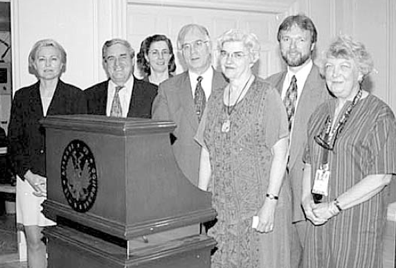 Gathering at the podium at the Library of Congress's Coolidge Auditorium are (l to r): TWG Cutural Fund Director Laryssa Copivsky, Amb. William Green Miller, Larysa Kurylas, of the Cultural Fund, Christoph Wolff, Patricia K. Grimstead, Jurji Dobczansky, of the LCPA Ukrainian Language Table, and Ruth Foss, of the Music Division, June 2000